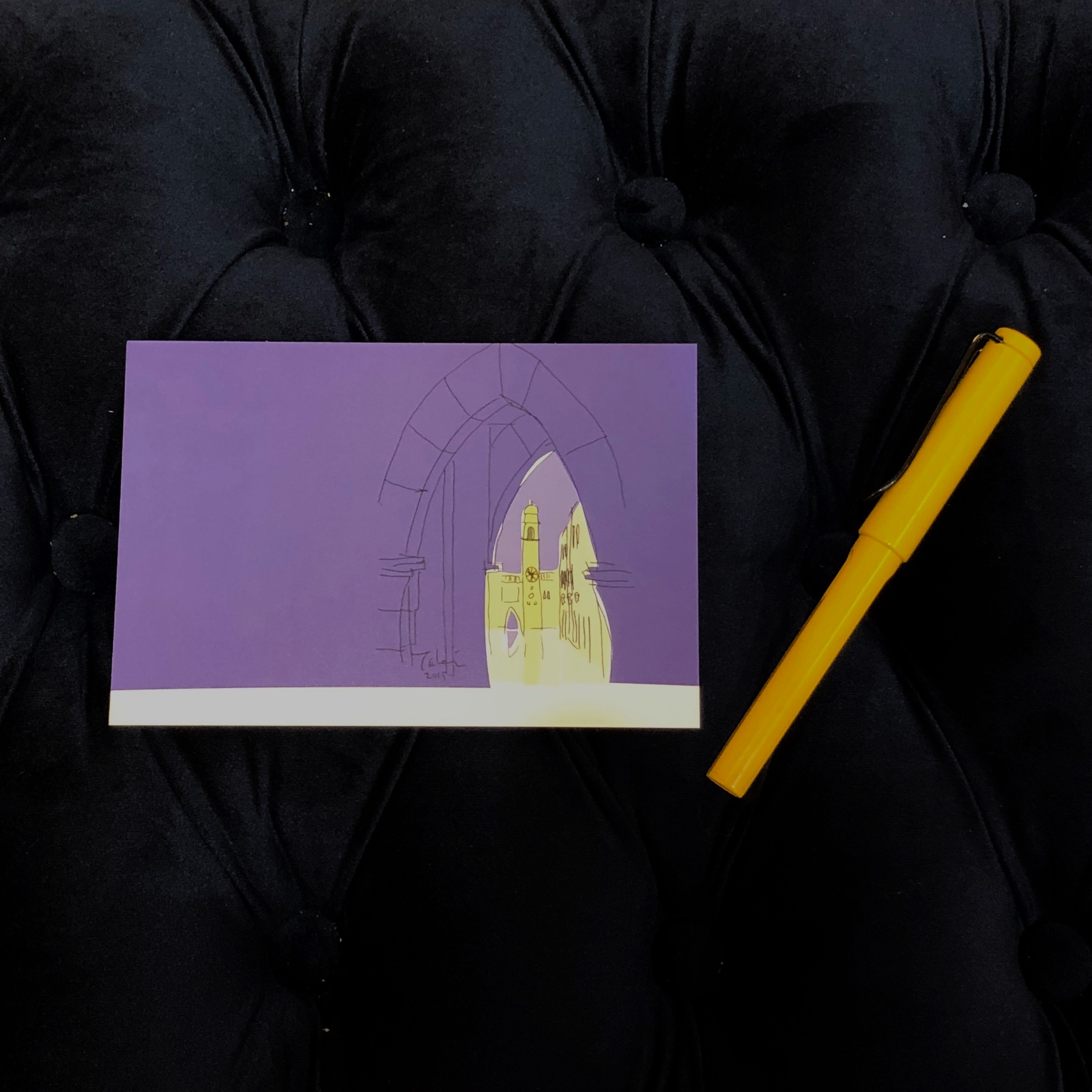 ドブロブニクの絵のポストカードとノート