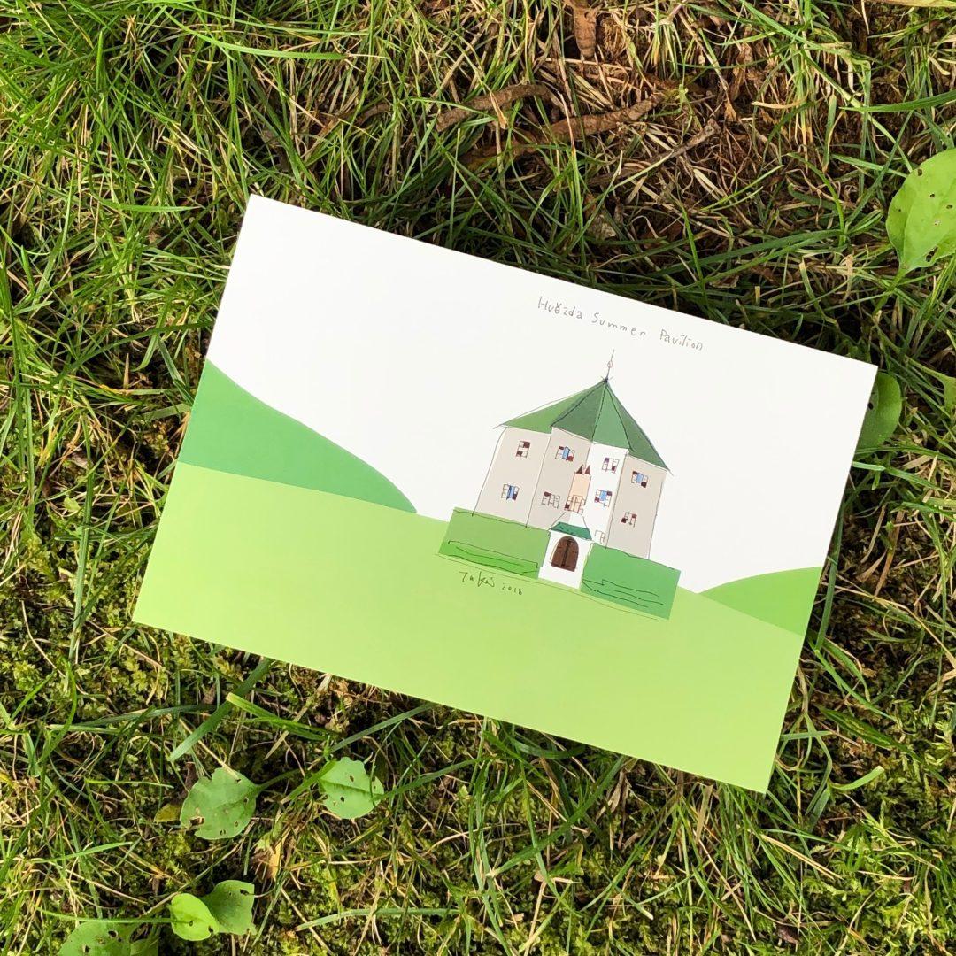 プラハの星形の建物のポストカード
