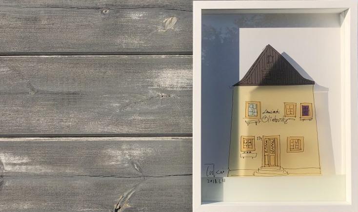 チェスキークルムロフの三角屋根の建物の絵