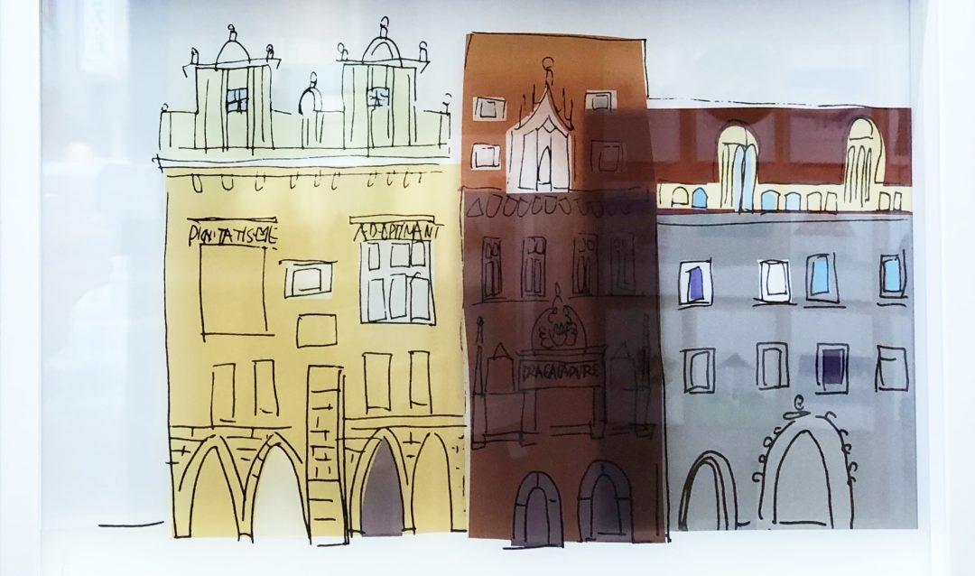 プラハ旧市街広場の時計横のビルの絵