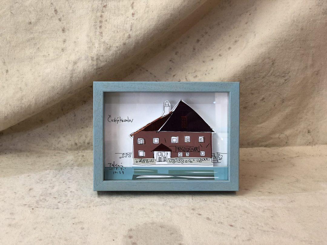 チェスキークロムロフの赤い家の絵